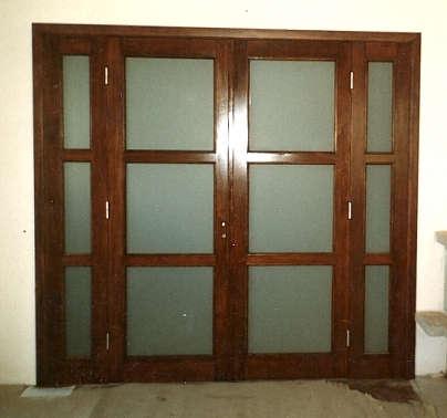 Drzwi wewnętrzne, drewniane, dwuskrzydłowe z doświetlami bocznymi