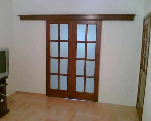 Drzwi wewnętrzne, drewniane, dwuskrzydłowe, przesuwne